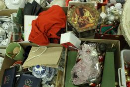 Six boxes of assorted household items to include Christmas decorations etc