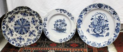 Three various 18th / 19th Century Delft chargers,