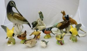 """A collection of various bird ornaments including Karl Ens figure of an """"Avocet"""","""