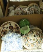 Two boxes of assorted decorative china wares to include Mason style plates etc