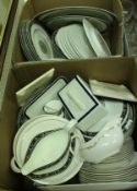 """A Wedgwood """"Runnymede"""" dinner service, 12 place setting with plates, various tureens, sauceboat,"""