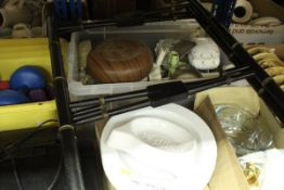 A collection of miscellaneous items to include a Tollware style tray top table, dumbbells,