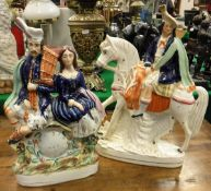 """A Victorian Staffordshire flat back clock group as """"A Bagpiper and woman seated upon a clock"""","""