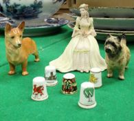 """A box of various china wares to include Adderley floral Corgi, Beswick """"Terrier"""","""