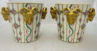 A pair of Dresden Sächsische Porzellanmanufaktur (circa 1902-1918) ice pails with gilded goat mask