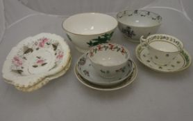 A collection of 19th Century English pottery including Derby floral decorated cup and saucer and