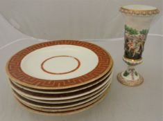 A set of seven late 18th Century Derby Greek key border shallow bowls or plates in gilt on oxide