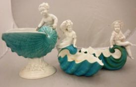 A pair of late 19th Century Derby turquoise and white glazed figural shell bowls (1877-90) and a