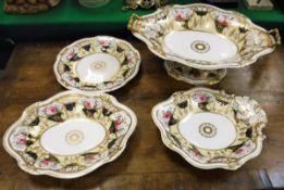 A 19th Century Staffordshire rose and cornucopia decorated dessert service comprising tazza,