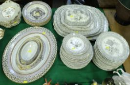 """A Victorian Brownfield & Sons """"Wisconsin"""" pattern part dinner service comprising two graduated oval"""