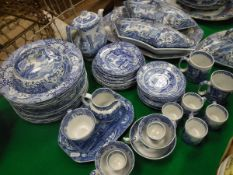 """A collection of blue and white pottery tea and dinner wares including Spode's """"Italian"""" and three"""