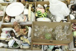 Six boxes of assorted decorative china and glasswares etc