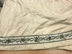 Two and a half pairs of cream silk with chenille braid border interlined curtains with fixed pencil