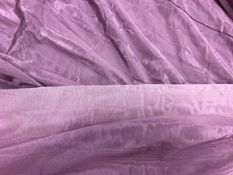 Two pairs of watered taffeta type purple interlined curtains with taped pencil pleat headings