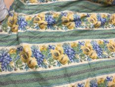 A pair of cotton type, interlined curtains with fruit and flower decoration on a cream,