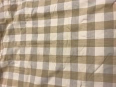 A pair of cotton cream and yellow check interlined curtains with fixed triple pinch pleat heading