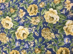 A pair of cotton linen mix Laura Ashley floral decorated lined curtains in blue and yellow with