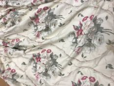 Two pairs and one single waffle style floral decorated fabric in cream,