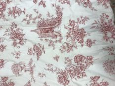 A pair of cotton type Toile de Jouy curtains in cream and red, interlined,