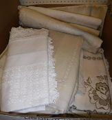 A box containing assorted vintage Irish and other table linen,