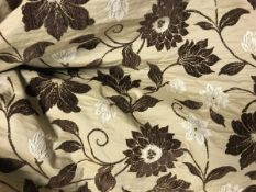 Two pairs of silk and chenille type beige and brown foliate lined curtains with fixed triple pinch
