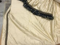 Four pairs of silk cream with gold and black braiding interlined curtains with taped pencil pleat