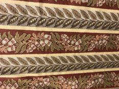 Two pairs of cotton George Spencer foliate striped interlined curtains in autumnal colours with