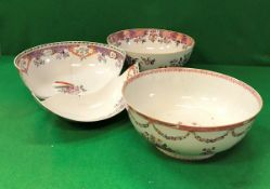 Three 19th Century Chinese famille-rose fruit bowls (all damaged)