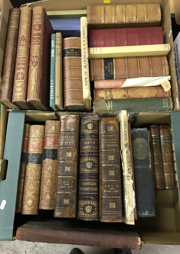 Lot 824 - Two boxes of antiquarian books,