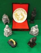 A Chinese Xiamen gilt decorated plate, a Korean carved soapstone Buddha decorated incense burner,