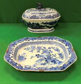 A 19th Century Chinese blue and white tureen and cover decorated with waterside landscape studies