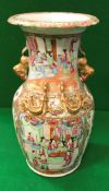 A 19th Century Chinese famille-rose vase with relief work dragon and temple lion decoration,