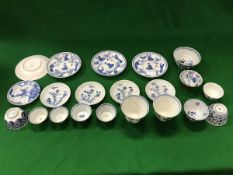 A collection of Chinese blue and white tea wares to include Kangxi tea bowl,