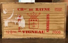 Twelve bottles Château de Rayne-Vigneau premier cru sauternes 2006 (OWC)