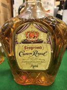One bottle Seagrams Crown Royal Fine Delux Blended Canadian Whisky, 80% proof, 4/5 quart,