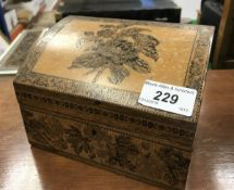 A Tunbridge ware stationery box of domed