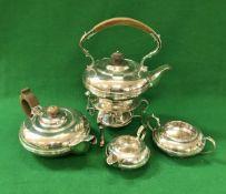 A George V silver three piece tea set of