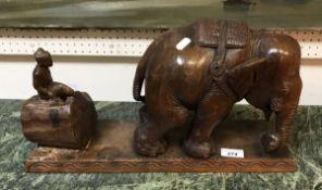 An Indian hardwood sculpture of an eleph