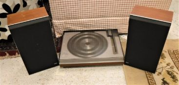 A Bang & Olufsen turntable and speakers,