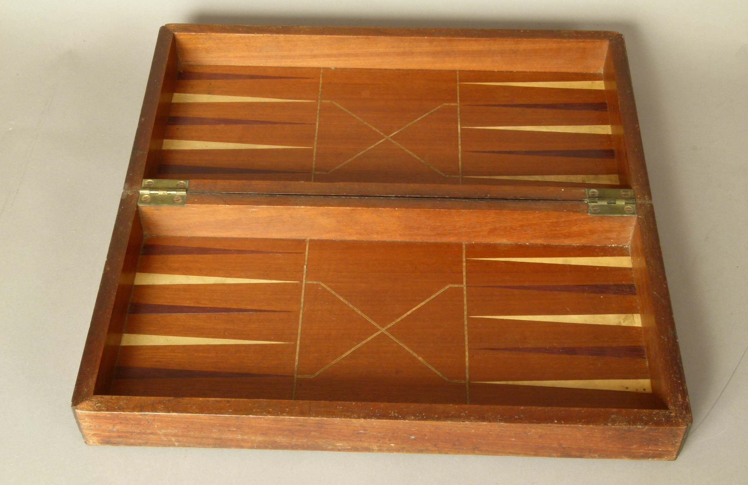 Lot 271 - A 19TH CENTURY INLAID MAHOGANY CHESSBOARD/BACKGAMMON BOX, the top with boxwood and rosewood board