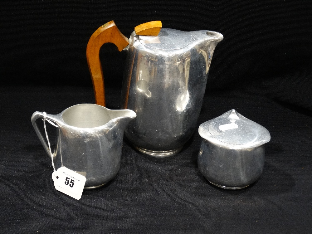 Lot 55 - A Picquot Ware Three Piece Tea Service