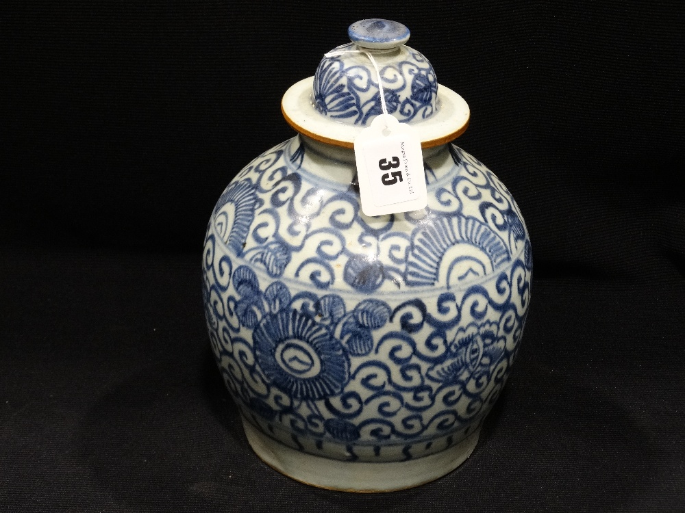 """Lot 35 - A Blue & White Delft Bulbous Jar & Cover With Leaf Printed Mark To The Base, 11"""" High"""