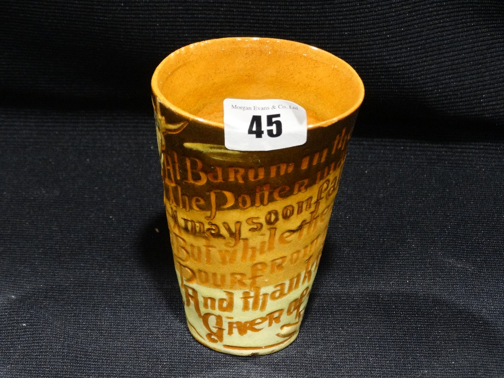 """Lot 45 - A C.H Brannam Pottery Beaker With Text & Fish Decoration To The Body, Signed & Dated 1895, 4.5"""""""