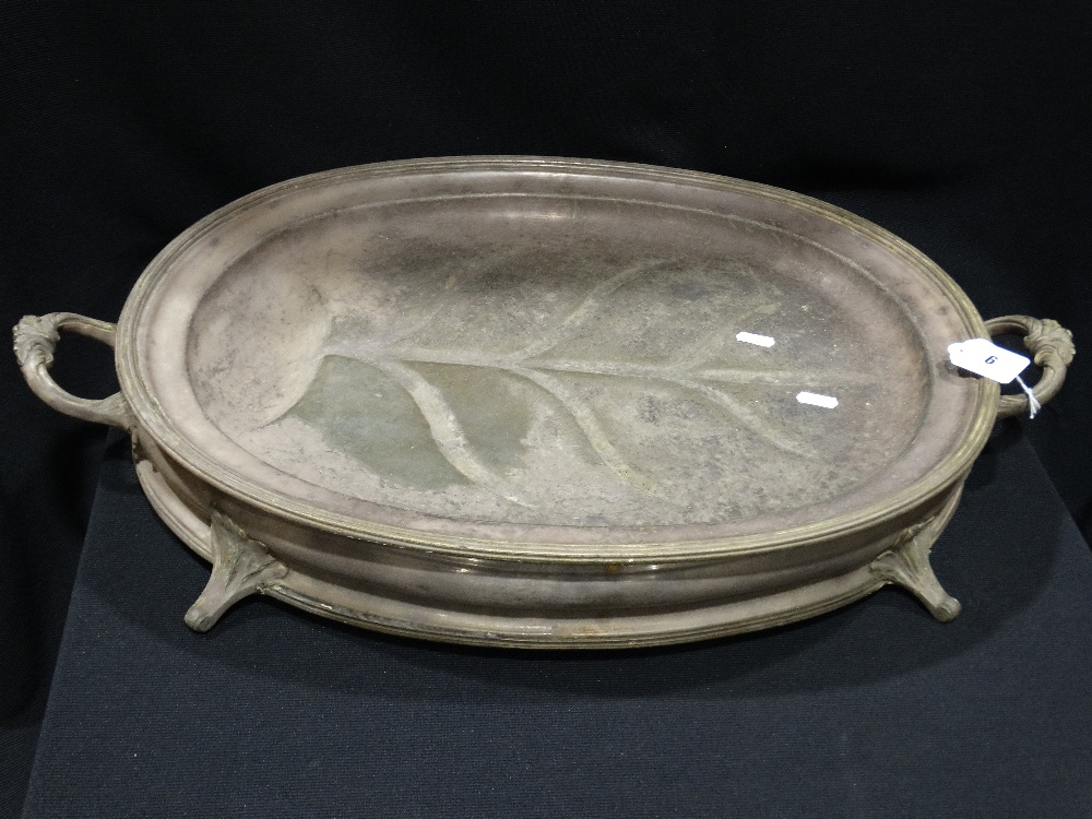 """Lot 6 - A Large 19th Century Plated Meat Server With Hot Water Well, 22"""" Across"""
