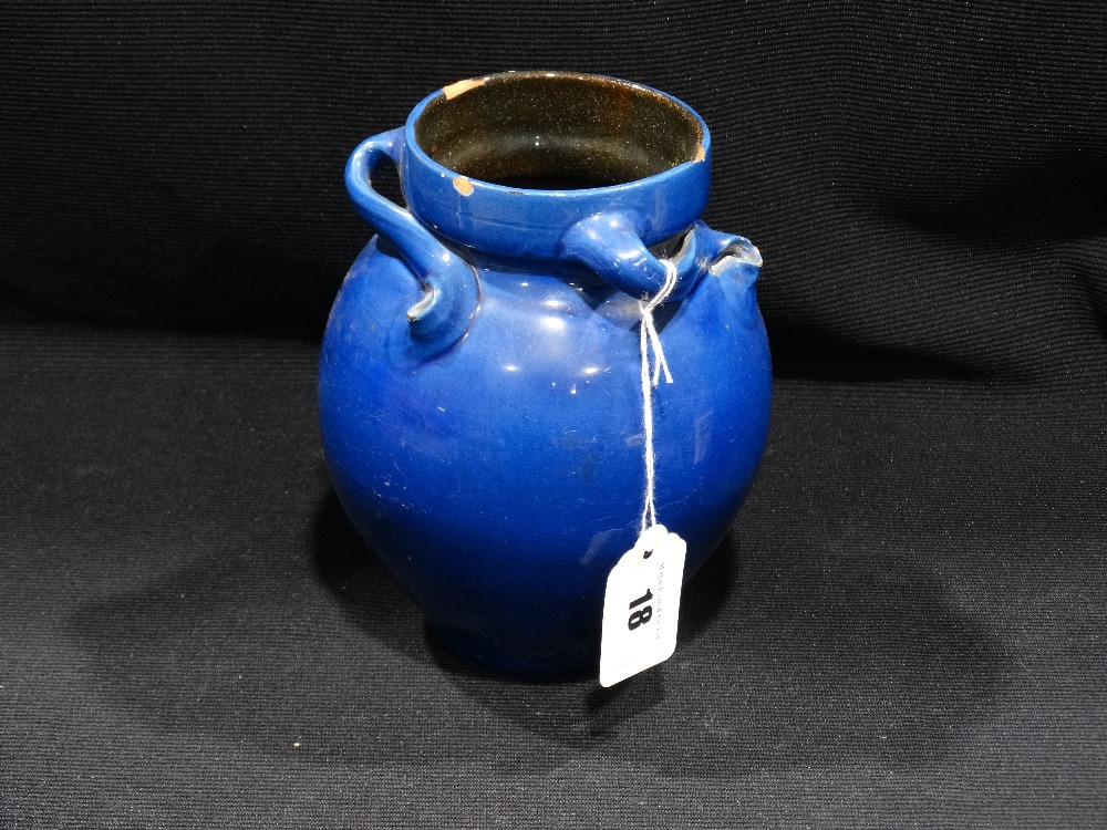 "Lot 18 - A Liberty London Blue Glazed Pottery Vase With Swirl Decorated Neck, Impressed Mark, 7"" High (Rim"