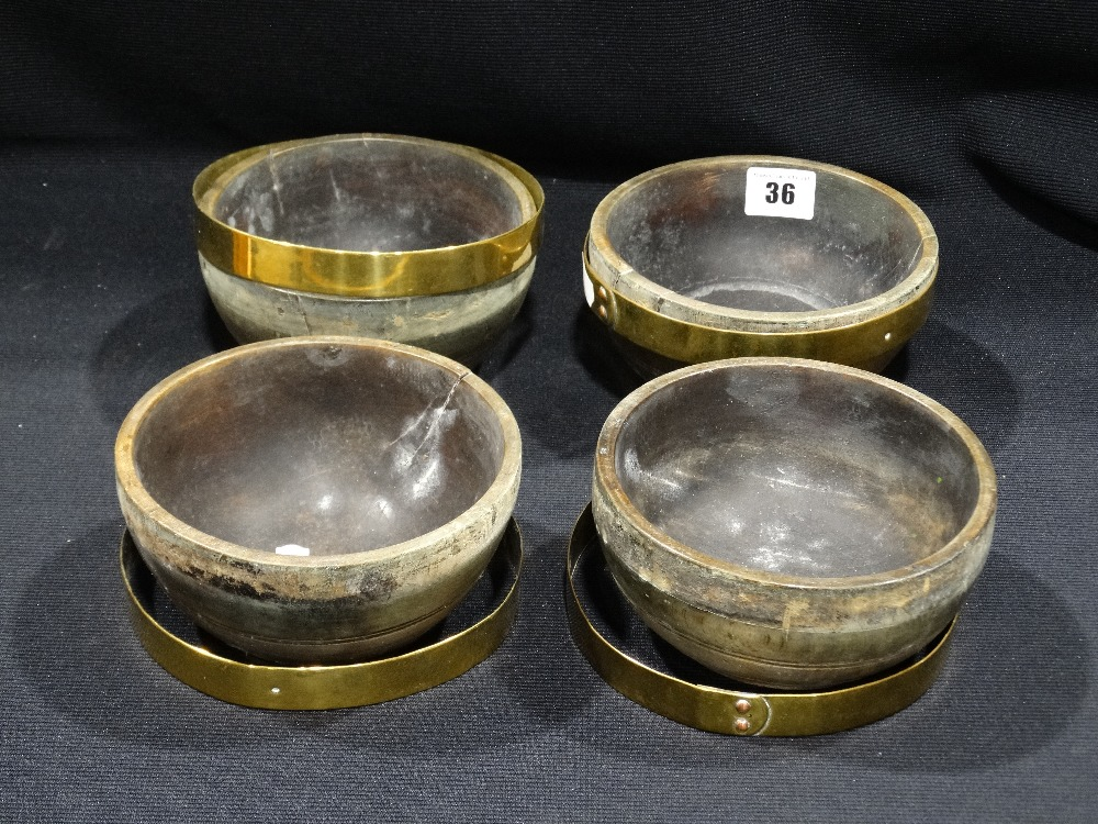 Lot 36 - Four Antique Treen Grain Or Cereal Bowls With Brass Bands