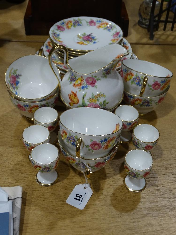 Lot 31 - A Twenty-Eight Piece New Chelsea China Floral Decorated Tea Set