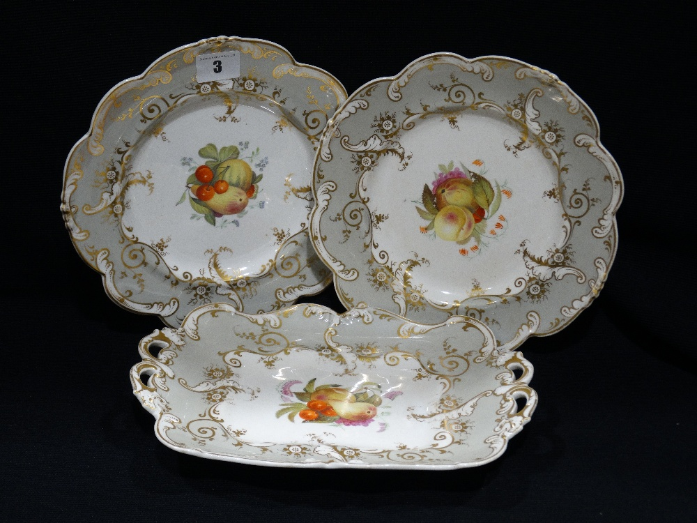 Lot 3 - Eleven Pieces Of 19th Century Gilt Decorated Fruit Service Ware With Painted Fruit Panels