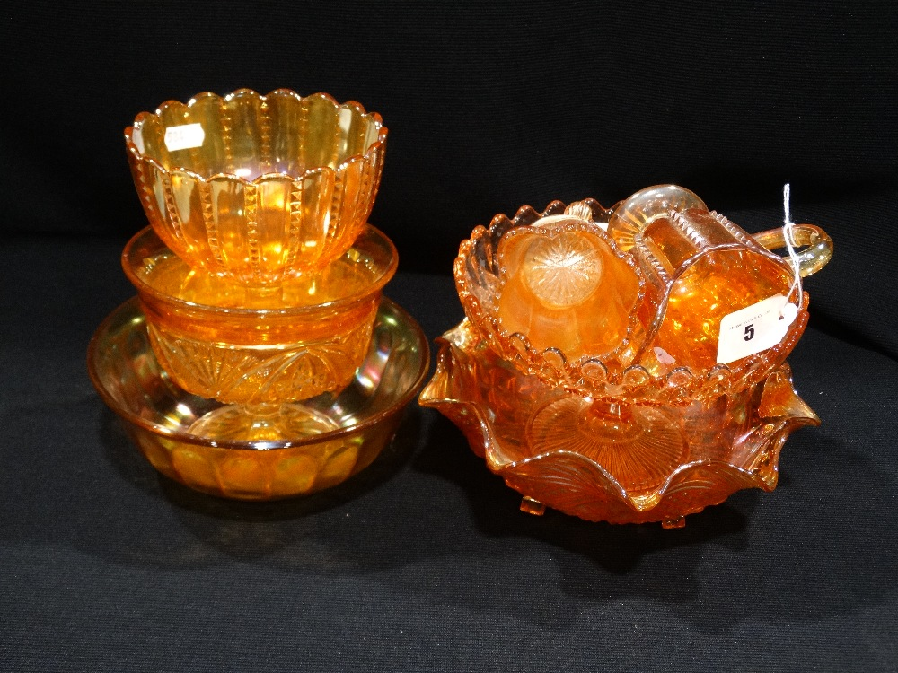 Lot 5 - A Quantity Of Orange Carnival Glass Pieces (7)