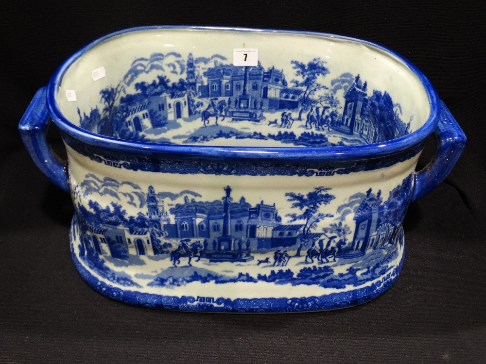 Lot 7 - A Reproduction Blue & White Transfer Decorated Pottery Foot Bath